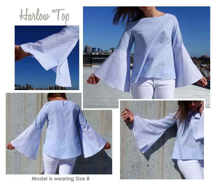 Harlow Top Sewing Pattern By Style Arc - Swing top with on trend bell sleeve