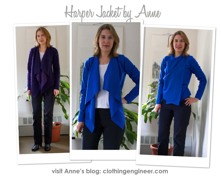 Harper Jacket Sewing Pattern By Anne And Style Arc - Easy, throw on waterfall jacket
