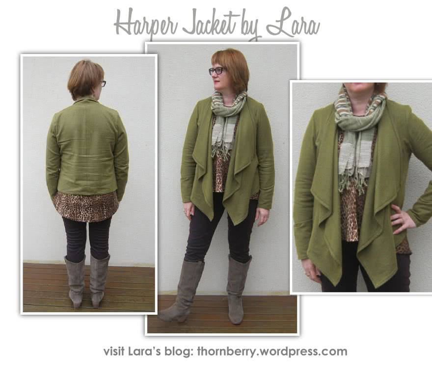 Harper Jacket Sewing Pattern By Lara And Style Arc - Easy, throw on waterfall jacket