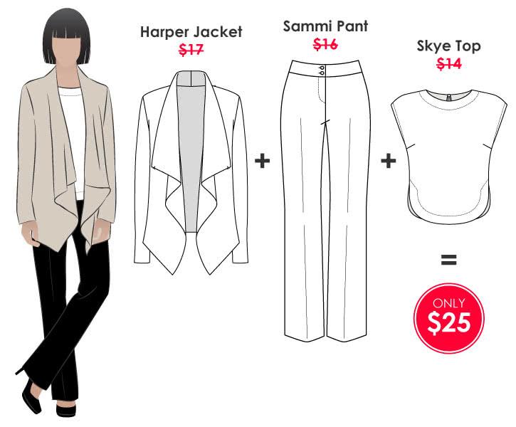 Harper + Skye + Sammi Outfit Sewing Pattern Bundle By Style Arc - Harper Jacket + Skye Top + Sammi Pant