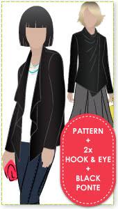 Harper Jacket + Hook & Eye + Black Ponte Fabric Sewing Pattern Fabric Bundle By Style Arc - Harper Jacket + Large Hook & Eye + Black Ponte Fabric.