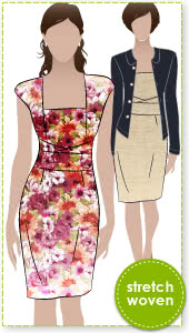 Heather Dress Sewing Pattern By Style Arc - Great day dress with flattering extended shoulder
