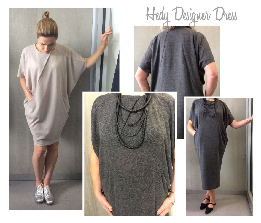 Hedy Designer Dress Sewing Pattern By Style Arc - Easy to wear cocoon shaped dress with hidden pockets and pleat neck