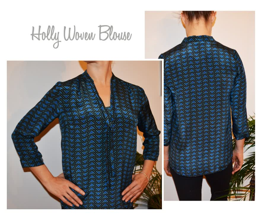 Holly Woven Blouse Sewing Pattern By Style Arc - Classic blouse with front tie and 7/8th sleeve length