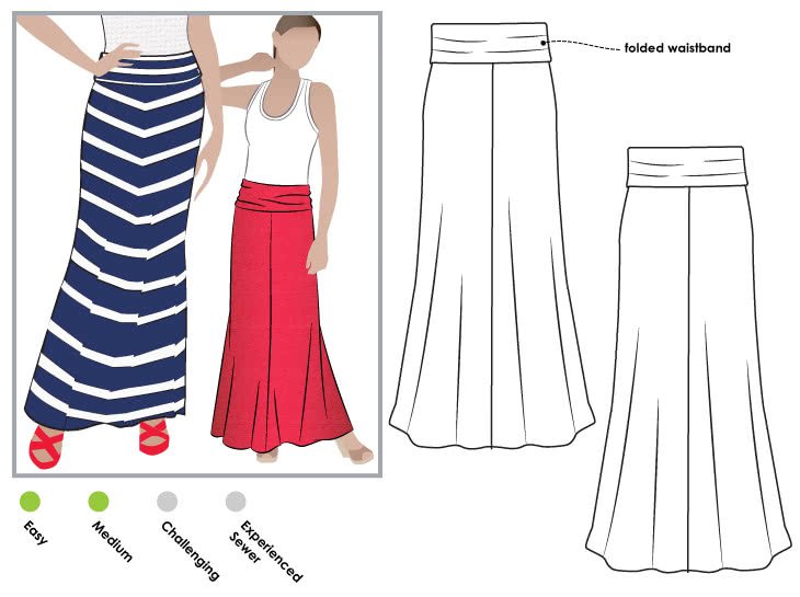 Imogen Knit Skirt Sewing Pattern By Style Arc - Maxi skirt with fold over waistband