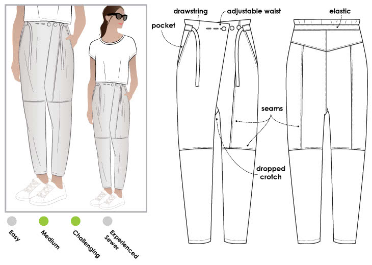 Isla Pant Style Arc Unique Pants Sewing Pattern