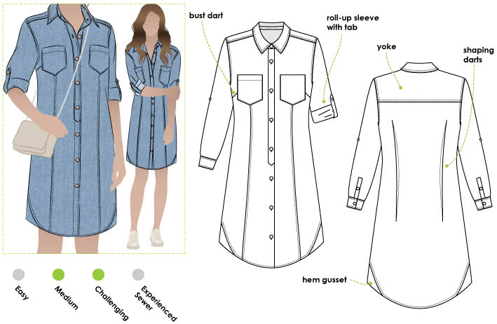 Italia Shirt Dress Sewing Pattern By Style Arc - This is an extension of your favourite denim shirt