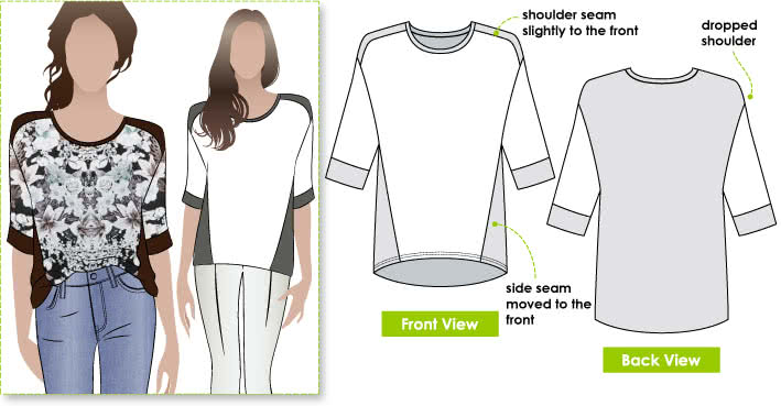 Ivy Knit Top Sewing Pattern By Style Arc - New square shape T-shirt with design lines