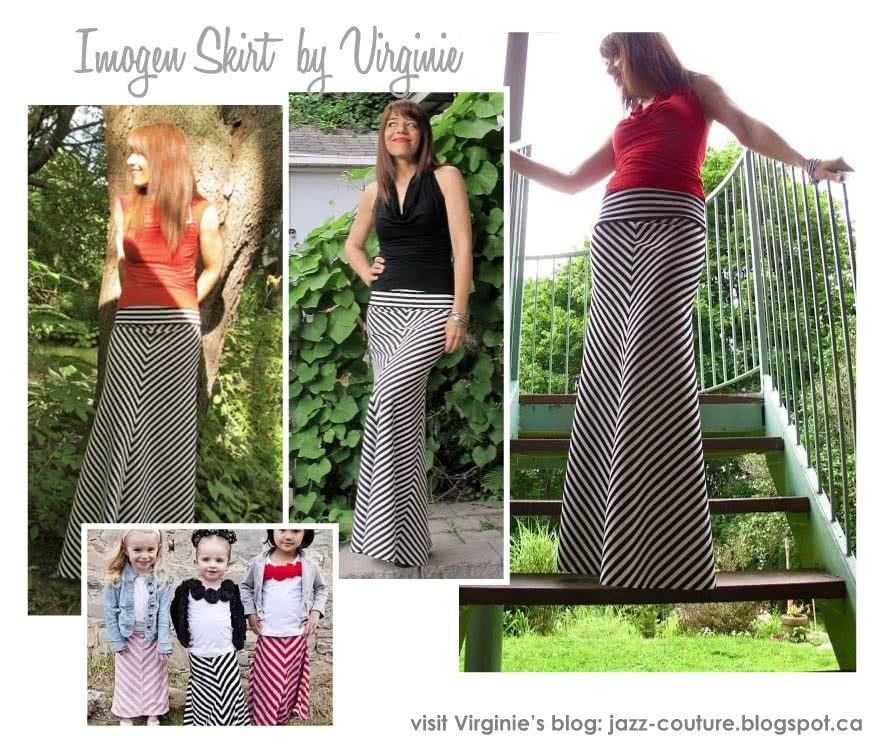 Imogen Knit Skirt Sewing Pattern By Vir And Style Arc - Maxi skirt with fold over waistband