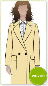 Ingrid Coat Sewing Pattern By Style Arc - Elegant fully lined double breasted coat