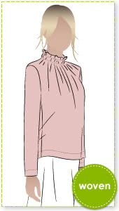 Isabella Top Sewing Pattern By Style Arc - Feminine woven top with ruffle neck and 7/8 sleeve