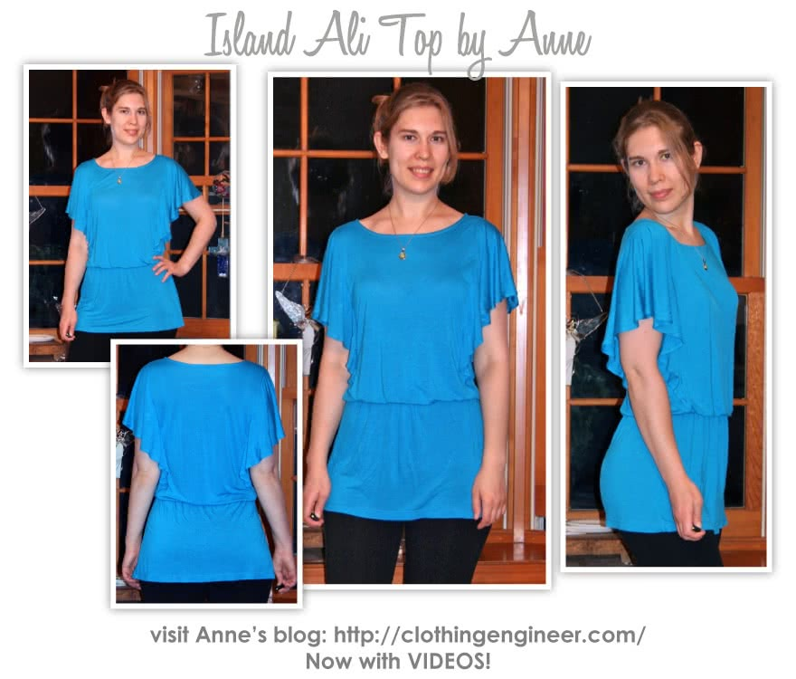 Island Ali Top Sewing Pattern By Anne And Style Arc - Flattering top with elastic waist and a flounce.