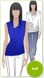 Issy Knit Top Sewing Pattern By Style Arc - Drape knit top with long sleeve or sleeveless.