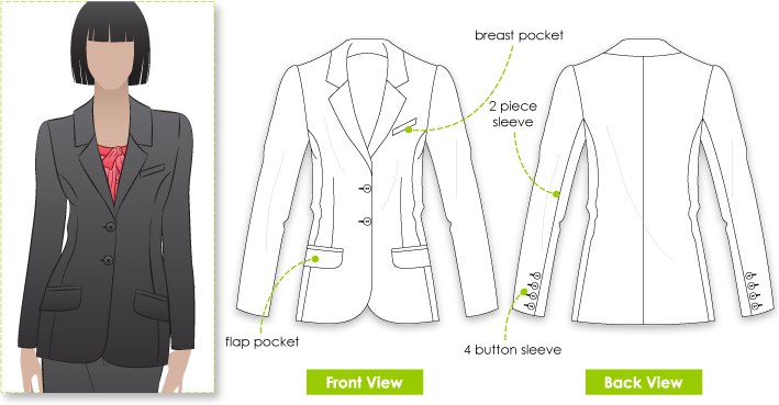Sara Jacket Sewing Pattern By Style Arc - Beautifully fitting fully lined jacket