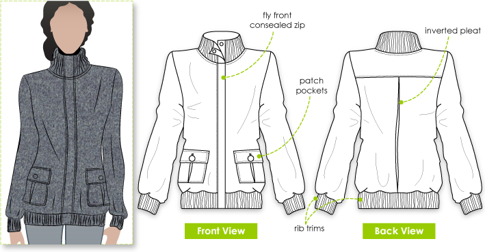 Emelia Jacket Sewing Pattern By Style Arc - Fabulous bomber jacket