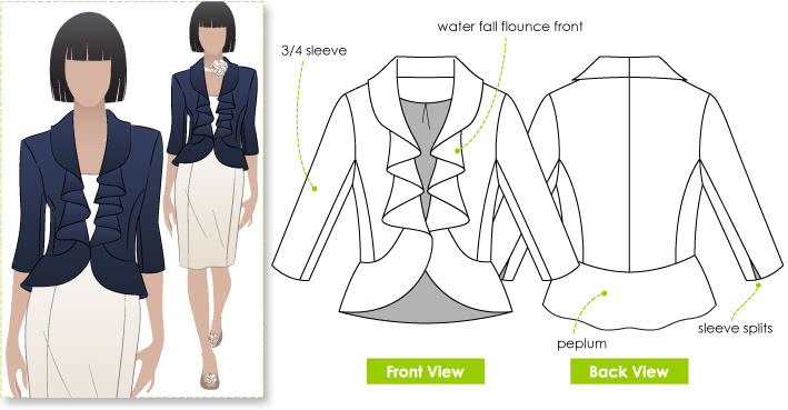 Julia Jacket Sewing Pattern By Style Arc - Fitted jacket with waterfall flounce