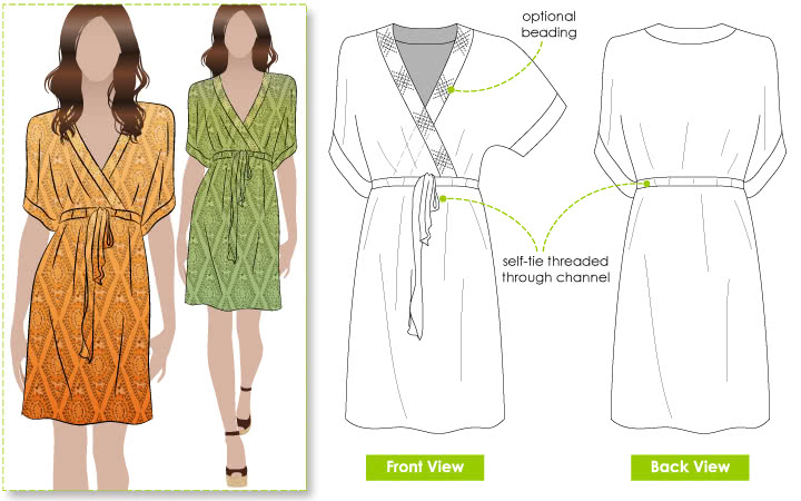 Jade Dress Sewing Pattern By Style Arc - Kaftan dress with Kimono style sleeve