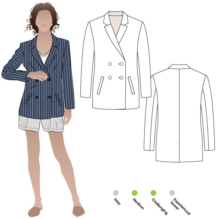 Janie Blazer Sewing Pattern By Style Arc - Relaxed double breasted jacket with two piece sleeves and welt pockets