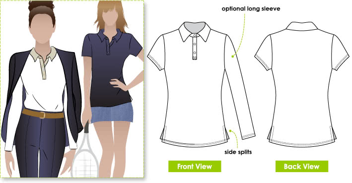 Jess Polo Sewing Pattern By Style Arc - Classic polo top with optional sleeve length
