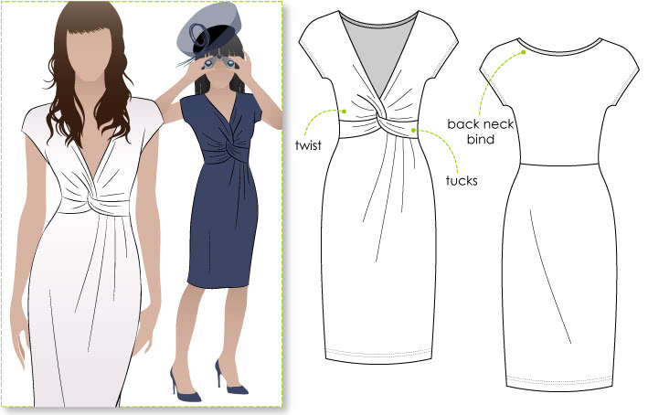 Jessica Dress Sewing Pattern By Style Arc - Fabulous new look twist dress