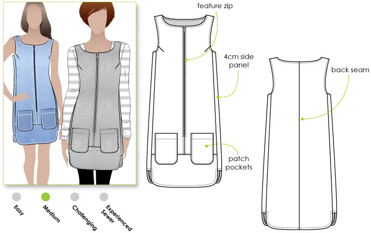 Jodie Dress / Pinafore Sewing Pattern By Style Arc - Designer dress / pinafore with stylish hemline & side panels