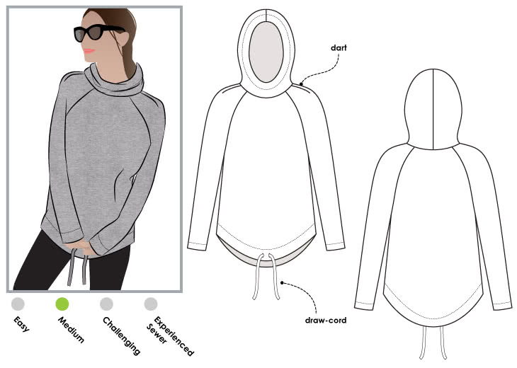 e38ddc3b9d0a1 Josie Hoodie Sewing Pattern By Style Arc - Hooded sweater with raglan  sleeves