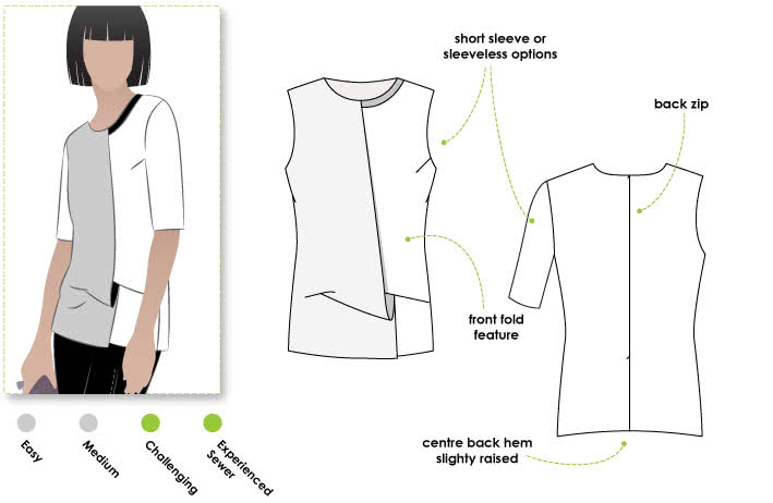 Jocelyn Woven Top Sewing Pattern By Style Arc - Sophisticated draped overlay top