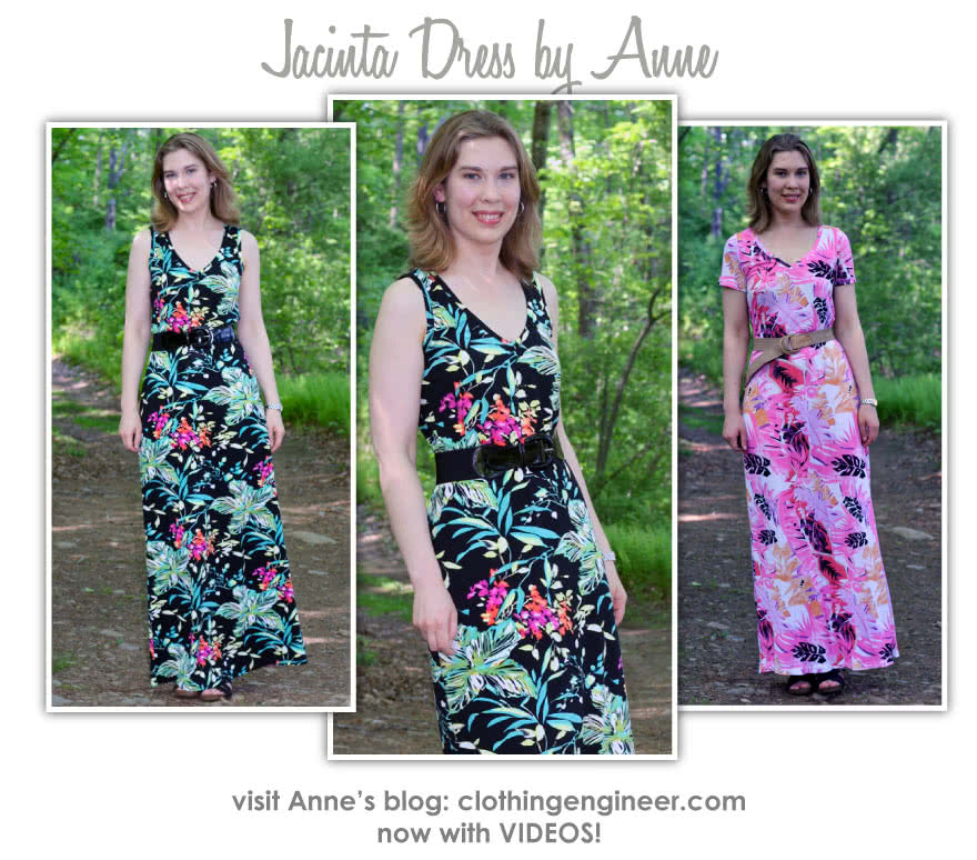 Jacinta Knit Dress Sewing Pattern By Anne And Style Arc - Maxi length dress with V-neck