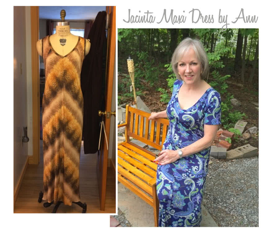 Jacinta Knit Dress Sewing Pattern By Ann And Style Arc - Maxi length dress with V-neck