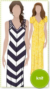 Jacinta Knit Dress Sewing Pattern By Style Arc - Maxi length dress with V-neck