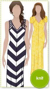 Jacinta Knit Dress Sewing Pattern By Style Arc - Maxi length dress with V-neck