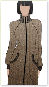 Jacqui Coat Sewing Pattern By Style Arc - Cozy winter coat with knit rib trims.