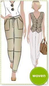 Jamie Pant Sewing Pattern By Style Arc - Casual pant with a great fit Interesting seam & cuff detail