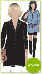 Jane Over-Shirt Sewing Pattern By Style Arc - Overshirt with side splits over jeans or leggings