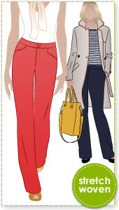 Jasmine Pant Sewing Pattern By Style Arc - Straight leg pant with fly front & angled pockets