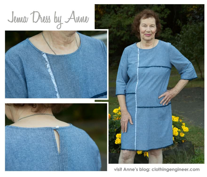 Jema Panel Dress Sewing Pattern By Anne And Style Arc - Panelled shift dress with on trend bell sleeves.