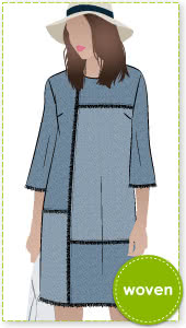Jema Panel Dress Sewing Pattern By Style Arc - Panelled shift dress with on trend bell sleeves.