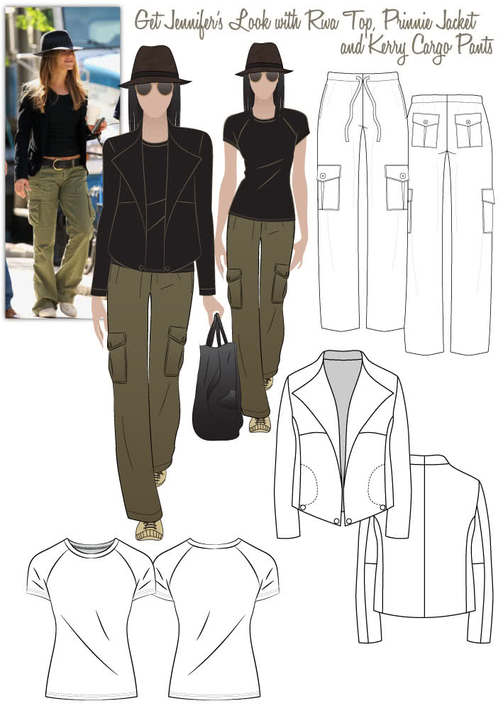 Jennifer's Casual Look Sewing Pattern Bundle By Style Arc - Jessica's Casual Look = Riva Top, Prinnie Jacket & Kerry Cargo Pants