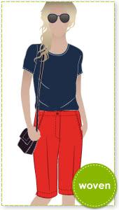 Jennifer City Shorts Sewing Pattern By Style Arc - On-trend long line slim city short