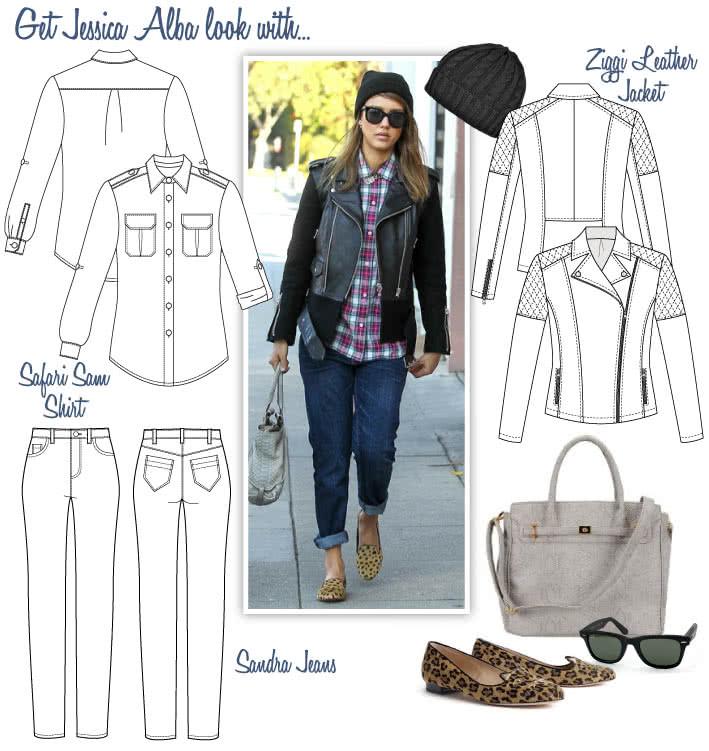 Jessica Alba's Look Sewing Pattern Bundle By Style Arc - Jessica's Look = Ziggi Jacket, Safari Sam Shirt & Sandra Jeans