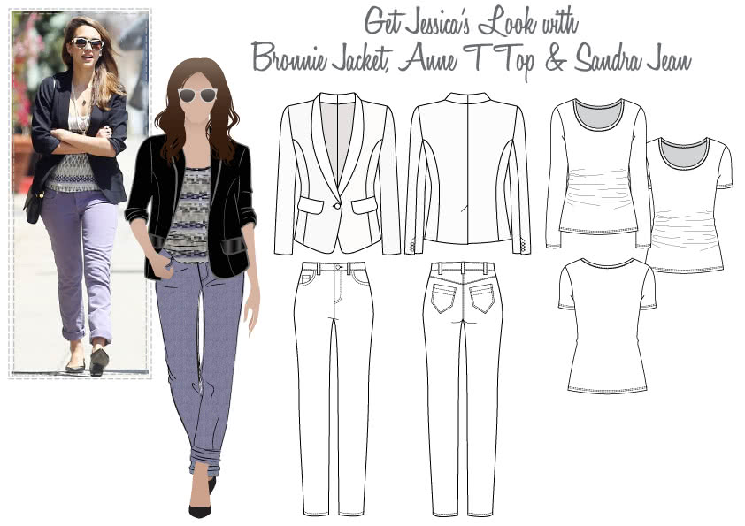 Jessica's Look No.3 Sewing Pattern Bundle By Style Arc - Bronnie Jacket, Anne T Top & Sandra Jean