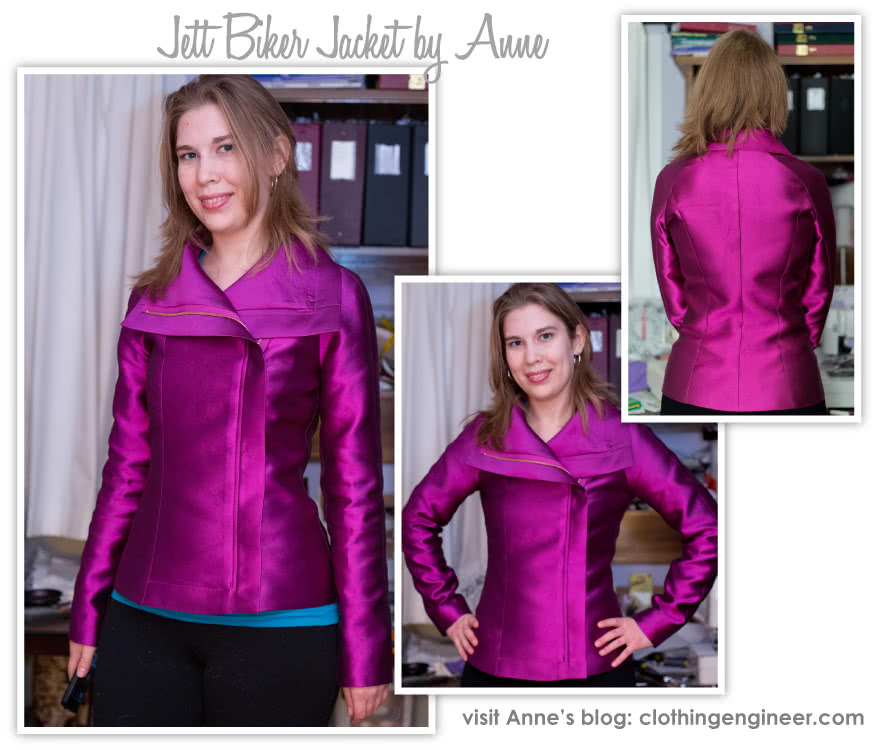 Jett Biker Jacket Sewing Pattern By Anne And Style Arc - Biker jacket style with front concealed zip & fabulous exaggerated collar