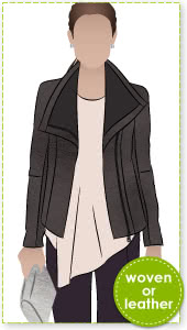 Jett Biker Jacket Sewing Pattern By Style Arc - Biker jacket style with front concealed zip & fabulous exaggerated collar