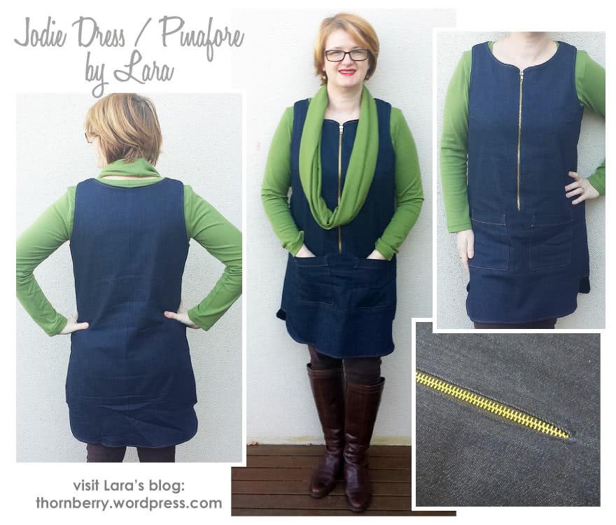 Jodie Dress / Pinafore Sewing Pattern By Lara And Style Arc - Designer dress / pinafore with stylish hemline & side panels