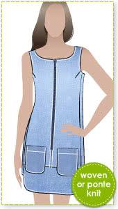 Jodie Dress / Pinafore Sewing Pattern By Style Arc - Designer dress / pinafore with stylish hemline & side panels