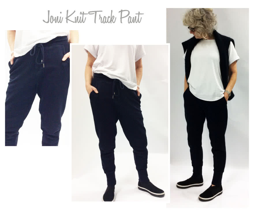 Joni Knit Track Pant Sewing Pattern By Style Arc - Stylish track pant with slight dropped crotch and curved leg seam