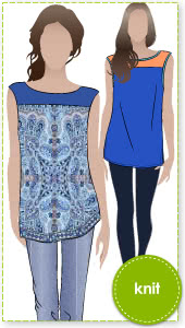 Judy Knit Top Sewing Pattern By Style Arc - Sleeveless tunic with yoke and side splits