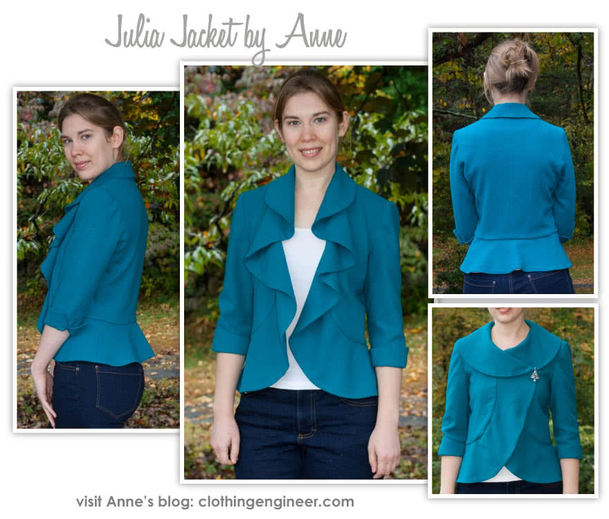 Julia Jacket Sewing Pattern By Anne And Style Arc - Fitted jacket with waterfall flounce