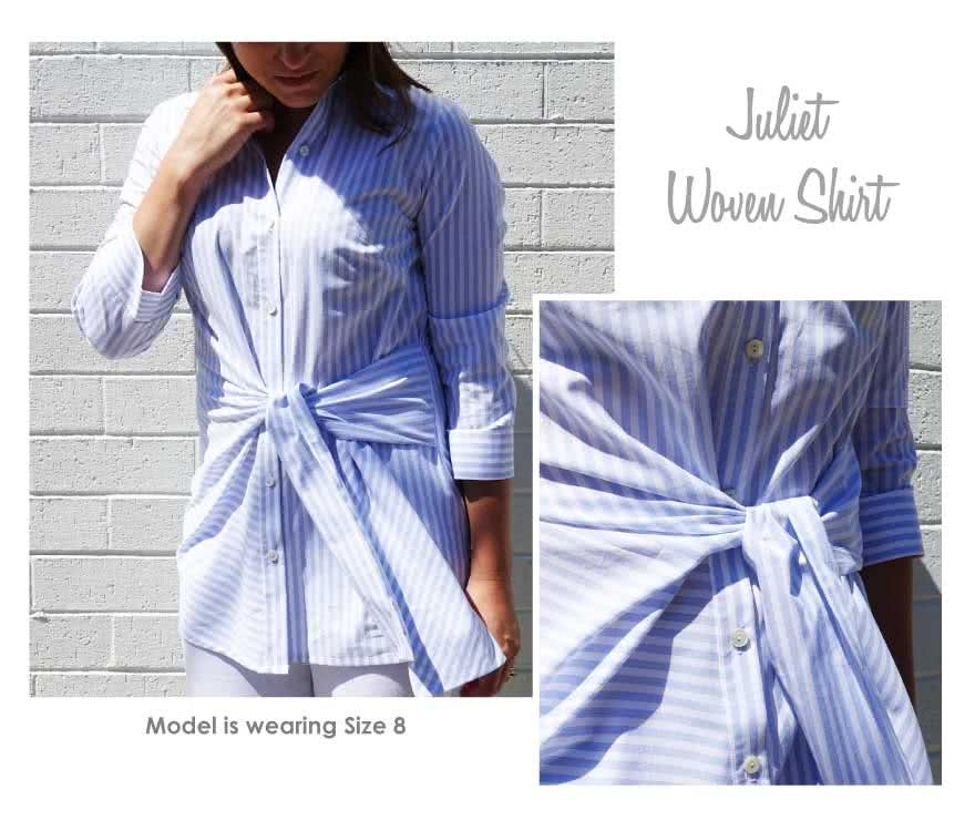 Juliet Woven Shirt Sewing Pattern By Style Arc - Stylish tie front shirt with ¾ sleeve