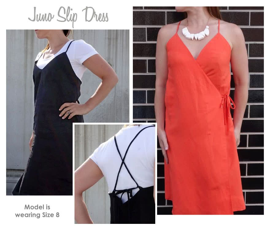 Juno Slip Dress Sewing Pattern By Style Arc - Fashionable wrap dress or slip dress, the choice is yours